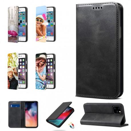 Cover iPhone XR flip sportellino personalizzata solo Fronte ecopelle Nera con foto
