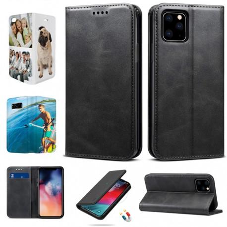 Cover iPhone XS flip sportellino personalizzata Fronte Retro ecopelle Nera con foto