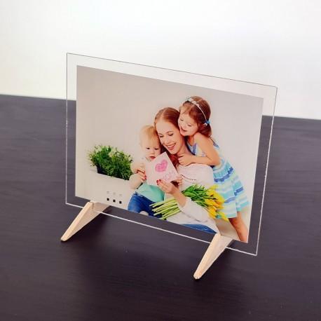 Foto quadro su plexiglass stampa fotografica personalizzata targa vetro acrilico 16cm x 25cm orizzontale cornice trasparente