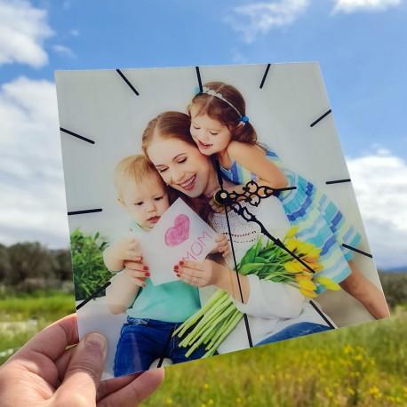 Orologio da parete moderno personalizzato con foto in plexiglass stampa fotografica vetro acrilico 25cm x 25cm quadrato