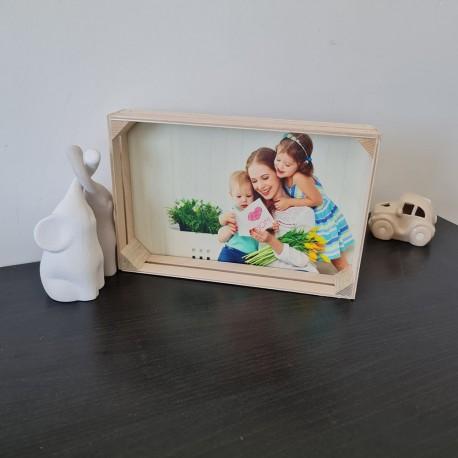 Foto cassetta in legno quadro stampa fotografica personalizzata 16cm x 25cm orizzontale -
