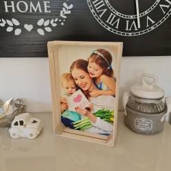Foto cassetta in legno quadro stampa fotografica personalizzata 25cm x 16cm Verticale -