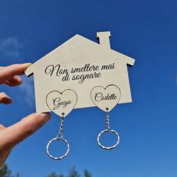 Appendichiavi di coppia da muro personalizzato con 2 portachiavi ad incastro da parete in legno porta chiavi